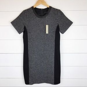 J.Crew 4P Dress Mixed Houndstooth Leather Wool New